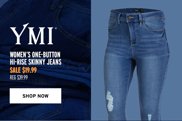 YMI Women's One-Button Hi-Rise Skinny Jeans - Click to Shop Now