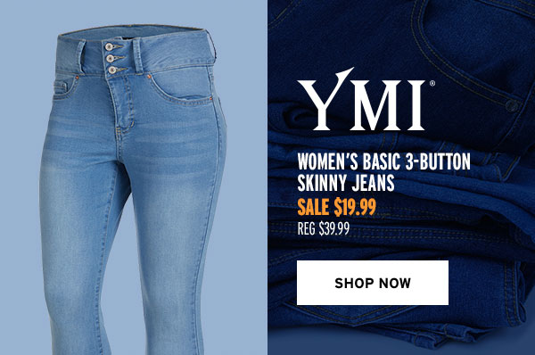 YMI Women's Basic 3-Button Skinny Jeans - Click to Shop Now