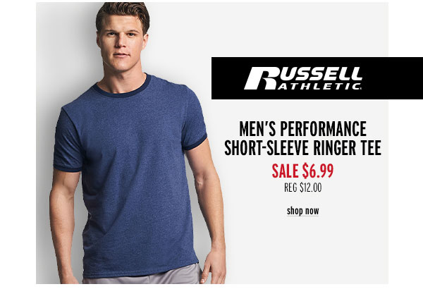 Russell Athletic Men's Performance Short-Sleeve Ringer Tee - Click to Shop Now