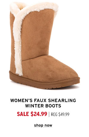 Women's Faux Shearling Winter Boots - Click to Shop Now