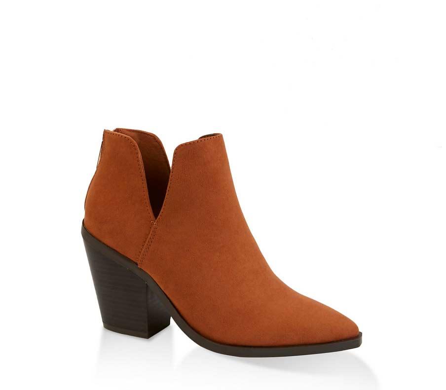 Pointed Toe Block Heel Booties