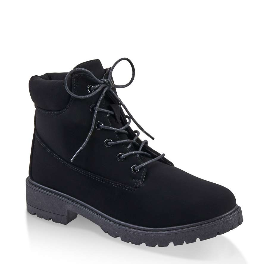 Lace Up Lug Sole Boots