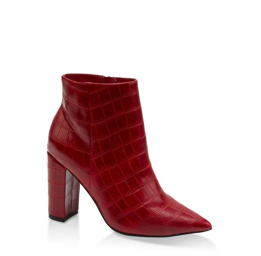 Side Zip Pointed Toe Block Heel Booties