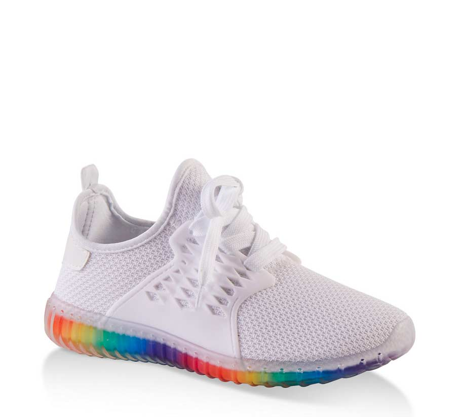 Rainbow Sole Athletic Knit Sneakers