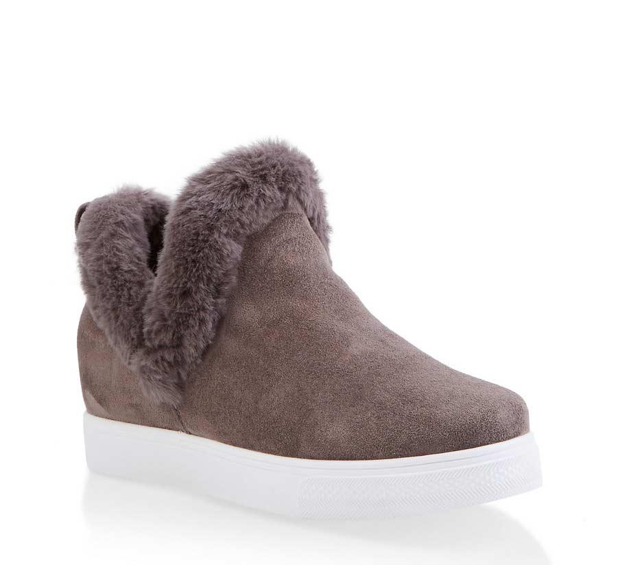 Faux Fur Trim Wedge Sneakers
