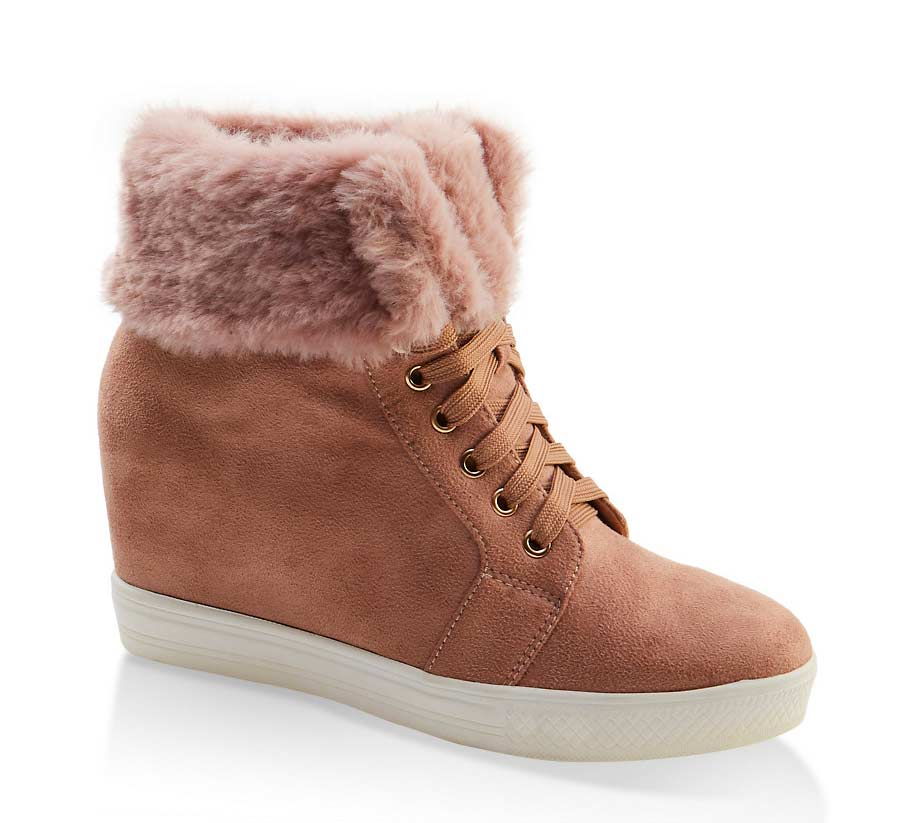 Faux Fur Collar Lace Up Wedge Sneakers