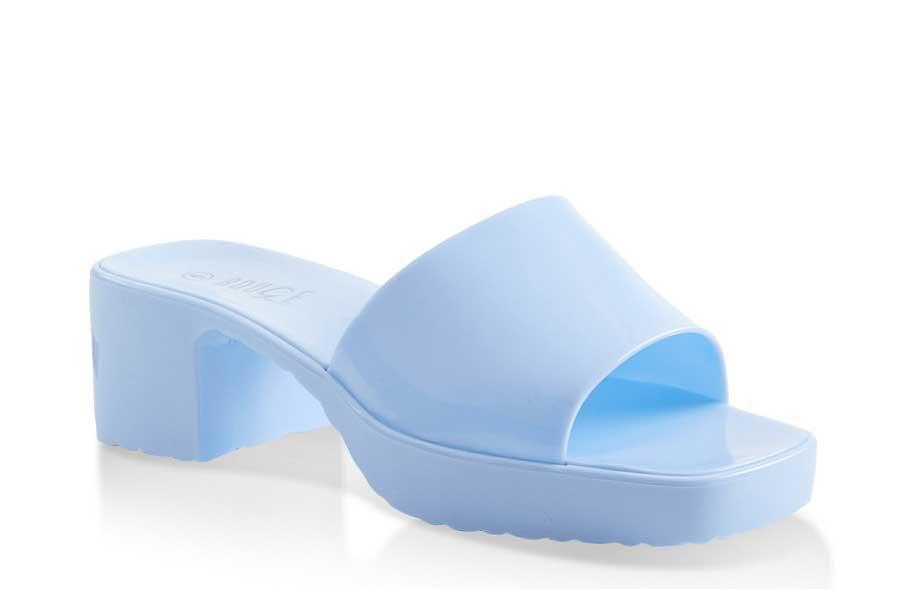 Jelly Block Heel Slide Sandals