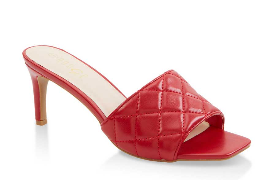 Quilted Mid Heel Mules
