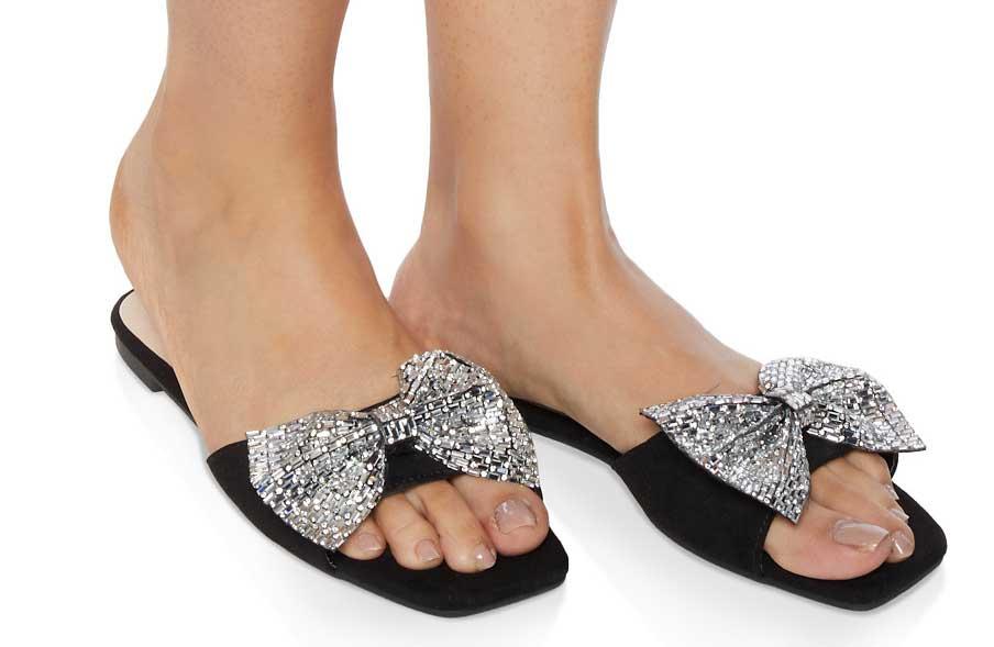 Rhinestone Bow Band Slide Sandals