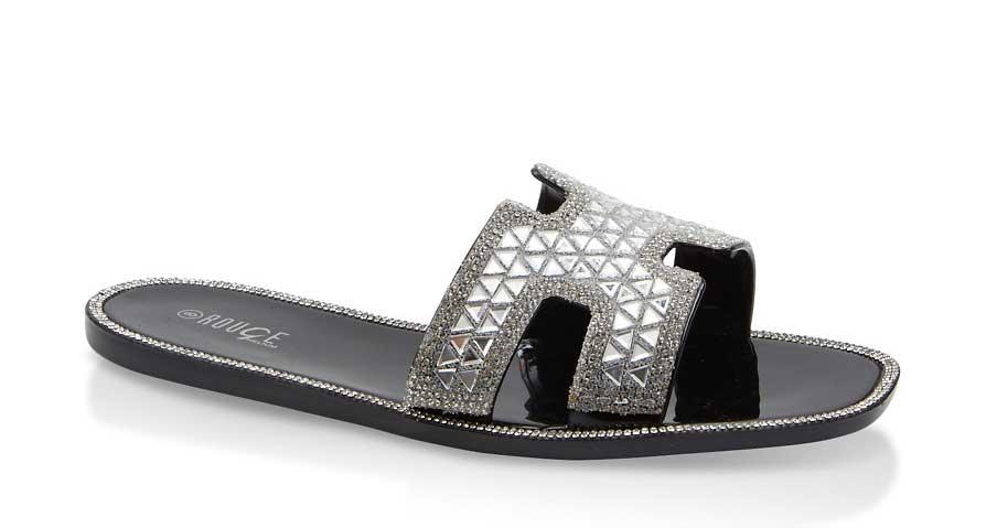 Rhinestone Studded Jelly Sandals