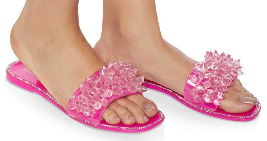 Crystal Band Jelly Slide Sandals