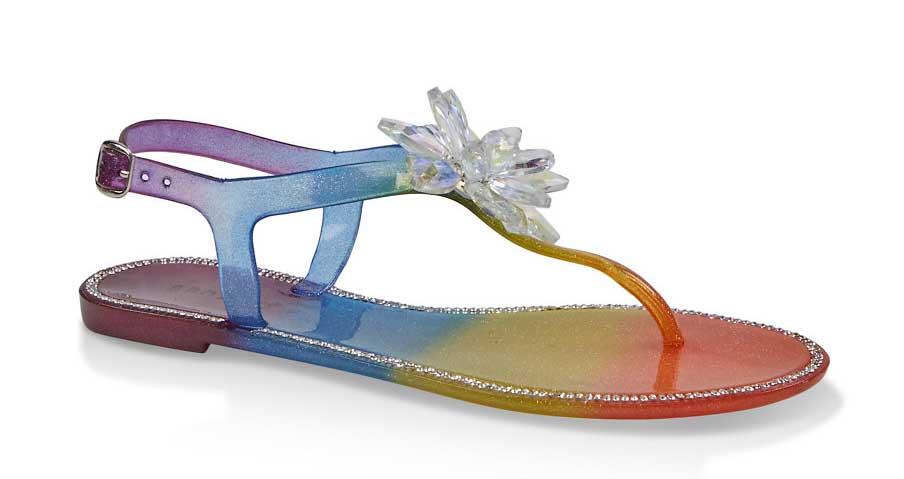 Rhinestone Studded Jelly Thong Sandals