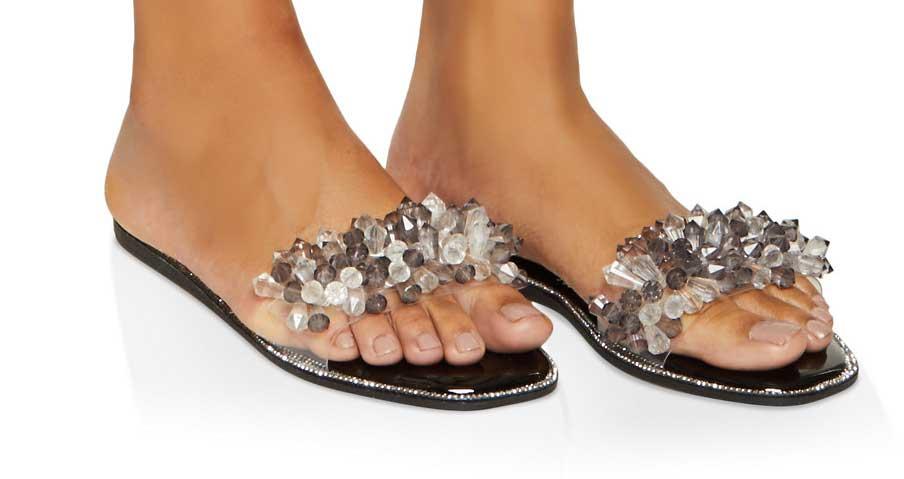 Crystal Band Slide Sandals