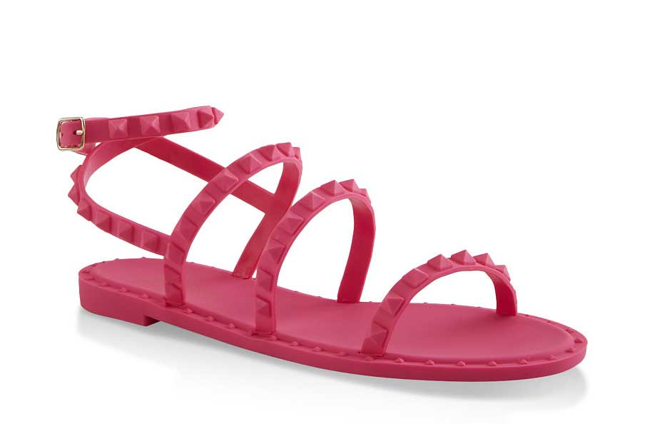 Studded Jelly Ankle Strap Sandals