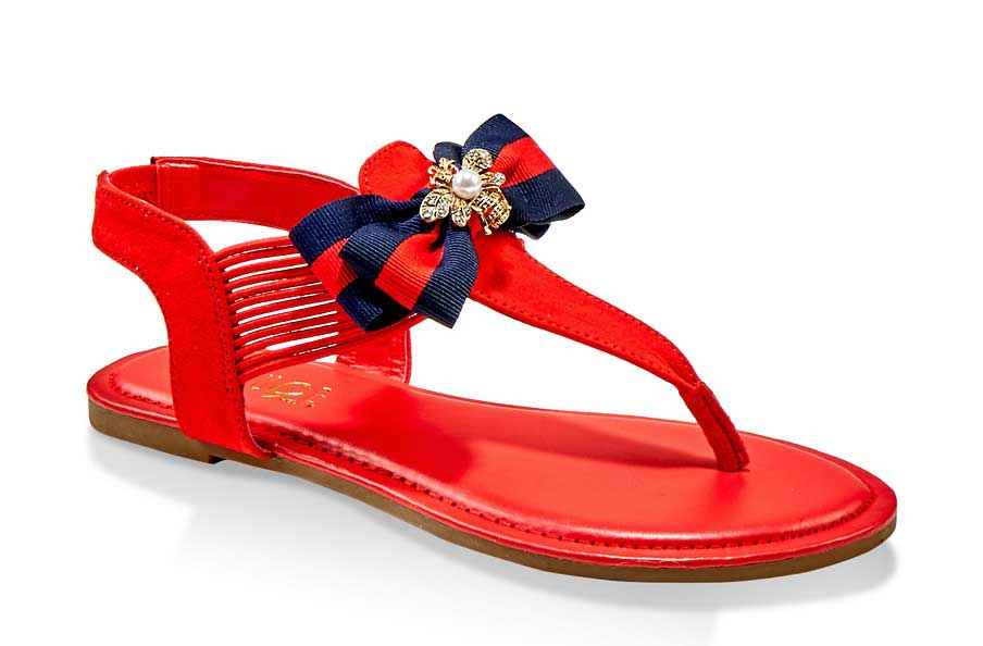 Bee Charm Bow Corded Thong Sandals