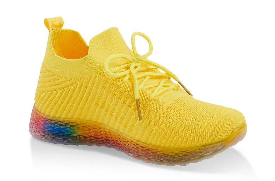 Rainbow Lattice Sole Textured Knit Sneakers