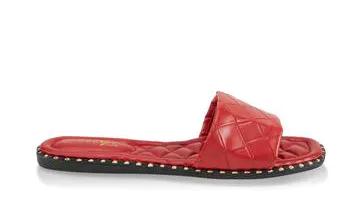 Quilted Sole Metallic Detail Slide Sandals
